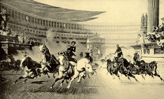 Image of the races at the Circus Maximus in ancient Rome